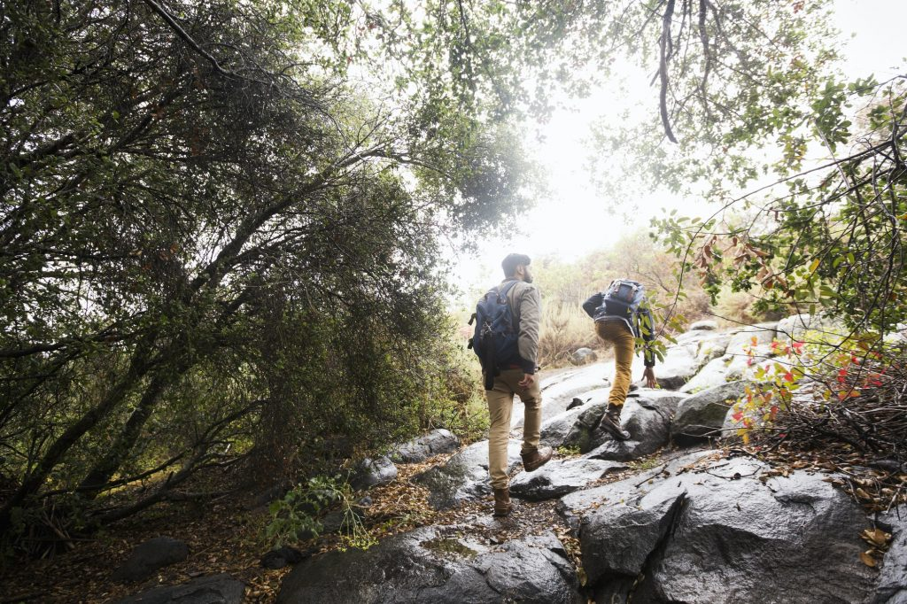 Two young men carrying backpacks hiking.